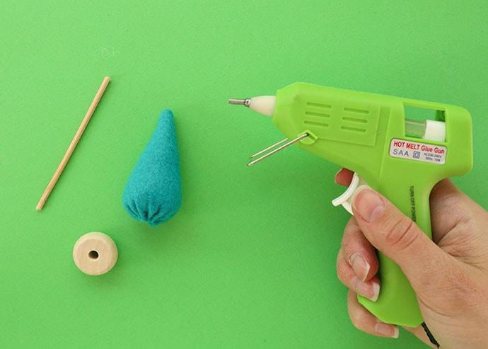 glue gun to make mini felt tree