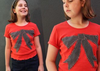 t shirt refashion - girl wearing orange tshirt with large bow applique