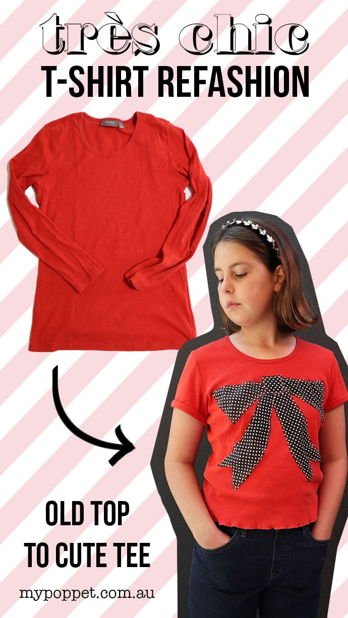 Before and after top to t-shirt refashion collage image. Old long sleeve top with arrow ponting to new t-shirt style of girl wearing orange t-shirt with black bow - mypoppet.com.au