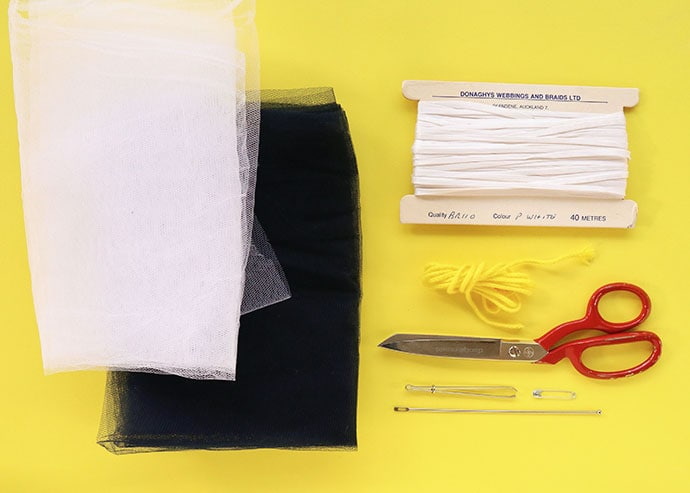 Supplies needed to make mesh produce bags
