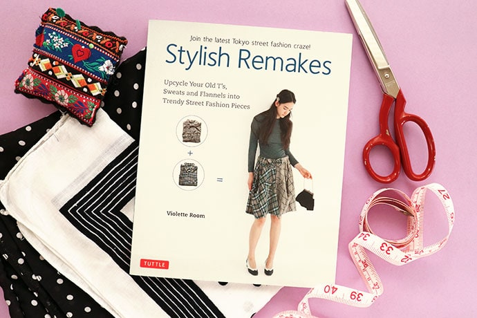 Stylish Remakes book with scissors and sewing supplies