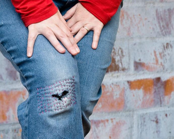 knee patch mending with sashiko boro stitching