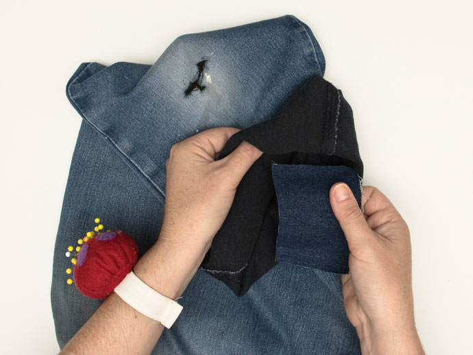 Mending jeans with Sashiko Inspired Sewing Repairs