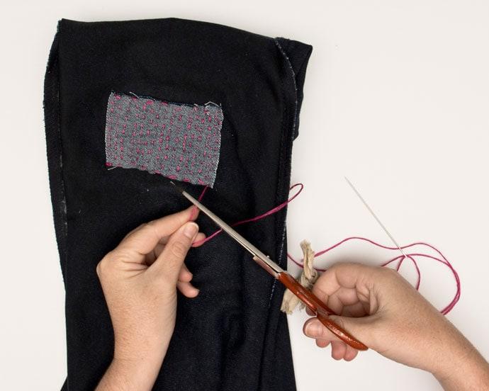 sashiko sewing to repair damaged jeans