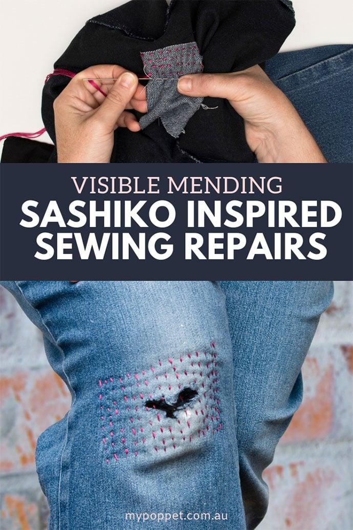 visible mending with sashiko stitches