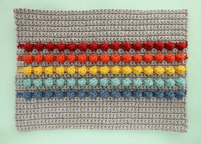 Bobble pillow front panel crochet pattern