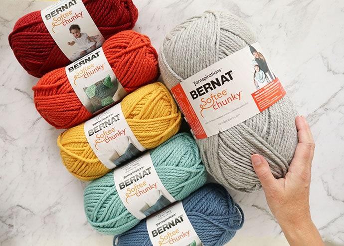 Bernat Softee Chunky yarn - Rainbow colours and Big Ball in grey heather g