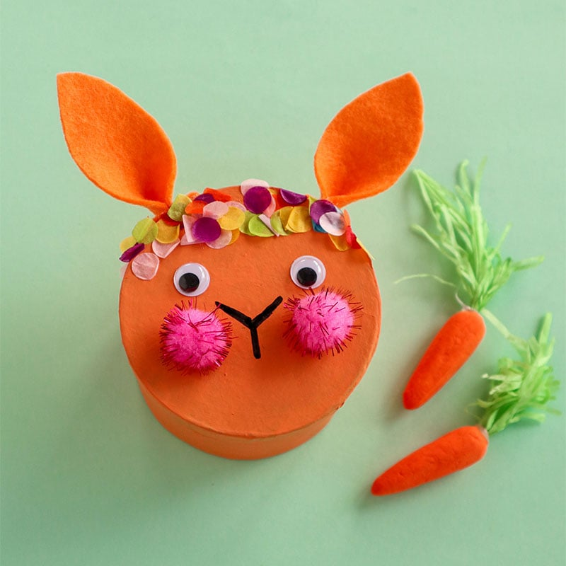 orange easter bunny face gift box craft idea