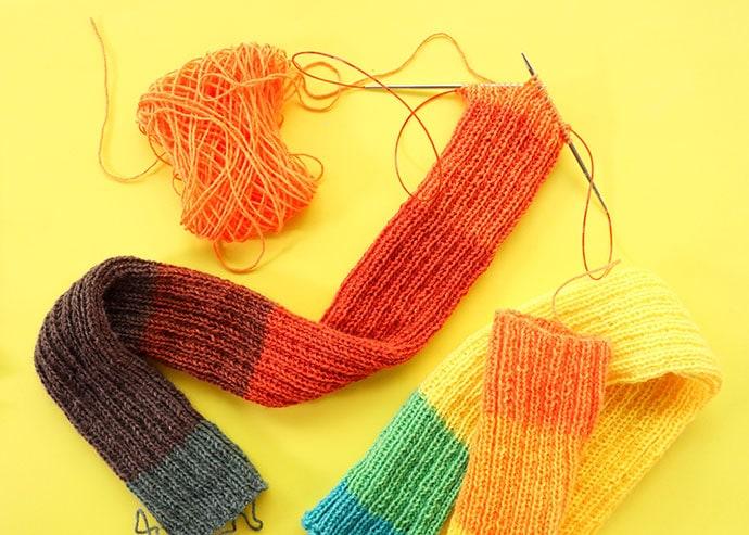 Magic loop knitting method leg warmers