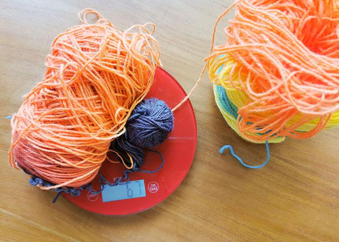 weighing yarn