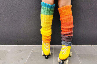 rainbow legwarmers with rollerskates