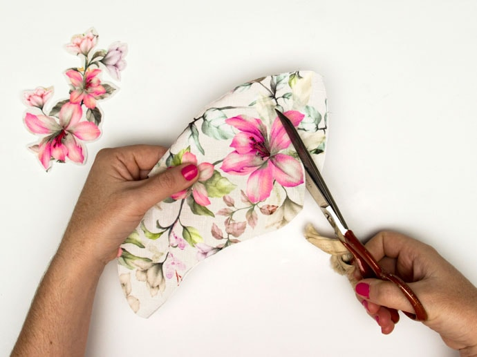 cut out flower fabric for applique