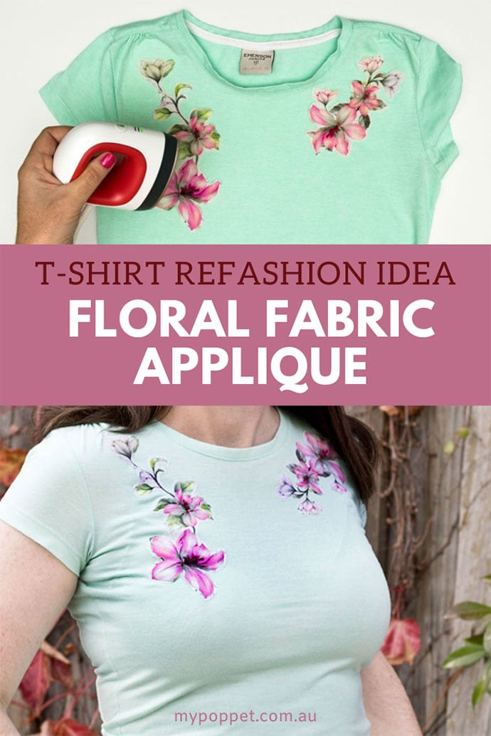 cropped image woman wearing light green tshirt with floral applique