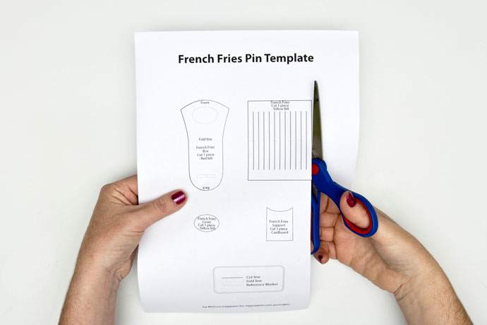 pattern template for felt french fries brooch
