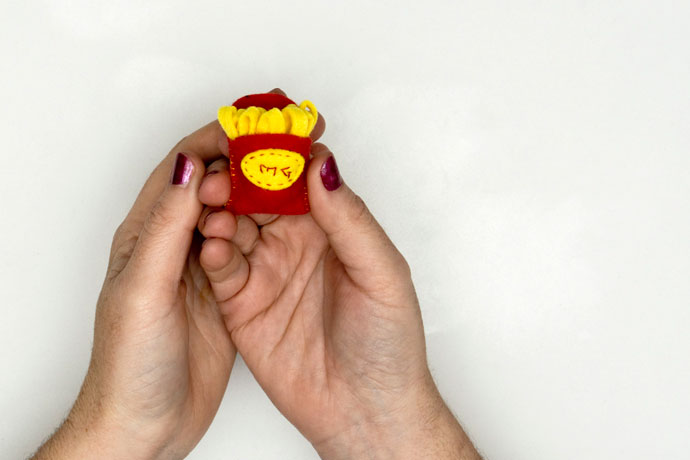French Fries Brooch made of felt