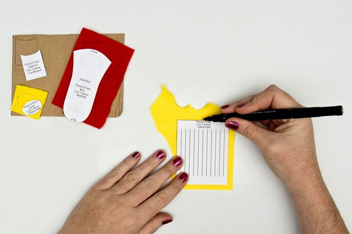 cutting felt pattern pieces for french fries brooch