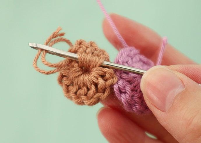 weave in crochet tail yarn