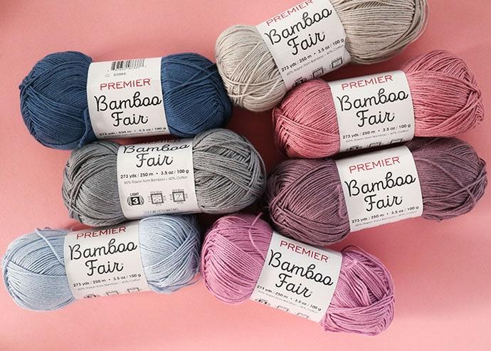 Premier Bamboo Fair yarn assorted yarn balls blue grey and lilac colors