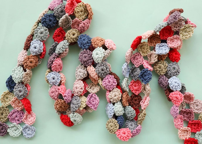 crochet scarf before blocking