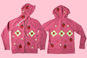 pink strawberry shortcake hoodie front and back view