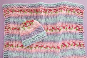 Pretty Blooms Baby Blanket & Hat Gift Set Knitting Pattern