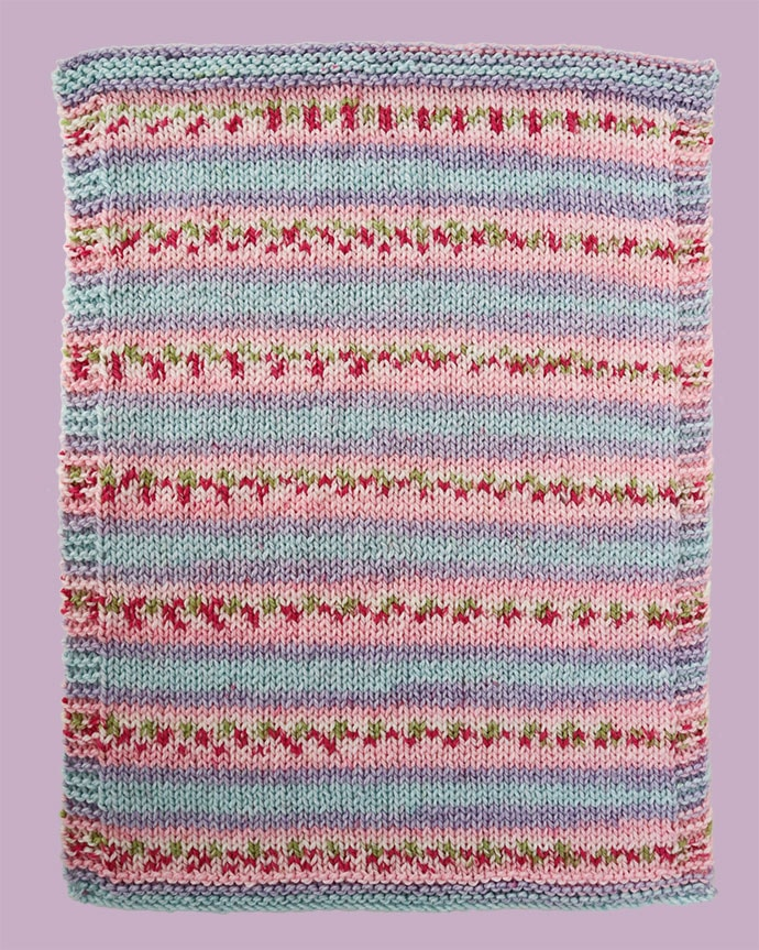Striped yarn lilac blue and pink baby blanket knitting pattern