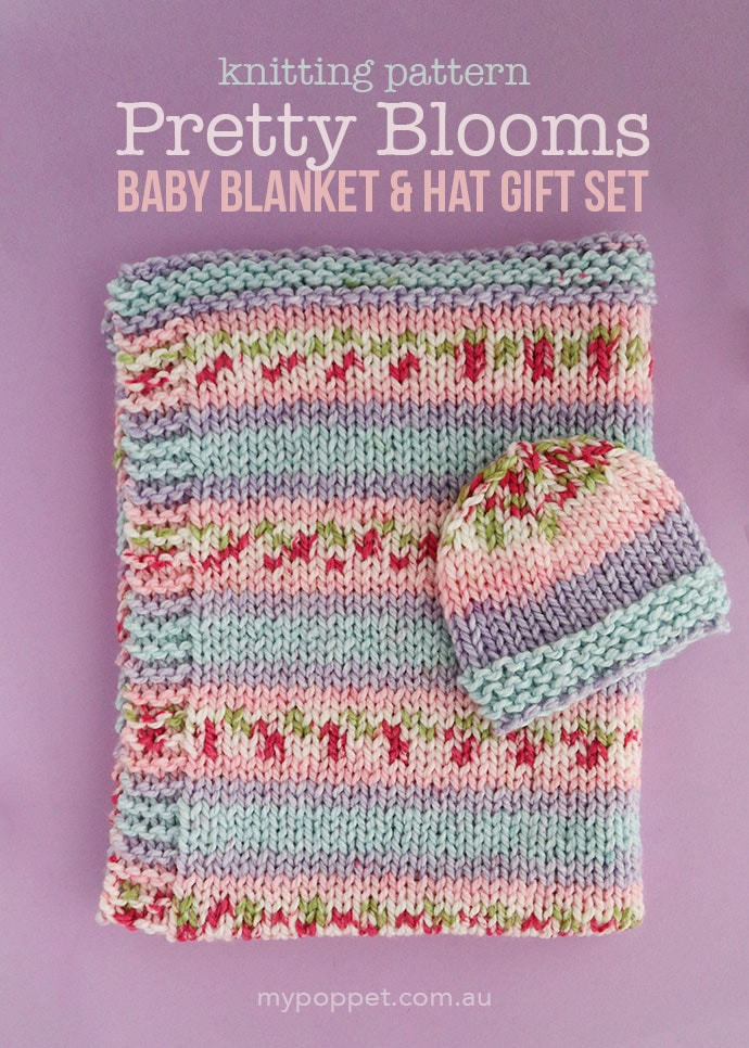 Knitted floral baby blanket and hat pattern