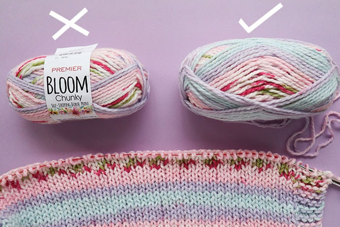 joining 2 balls of premier bloom chunky yarn tips