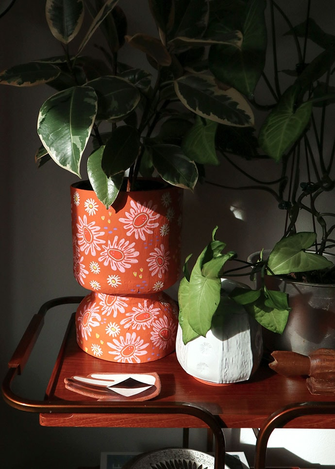 orange Decorative Planter made from recycled protein powder tub
