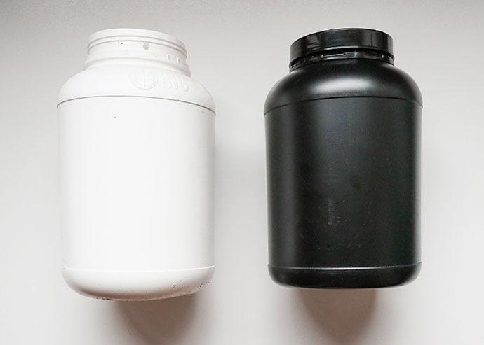 Empty protein powder tub