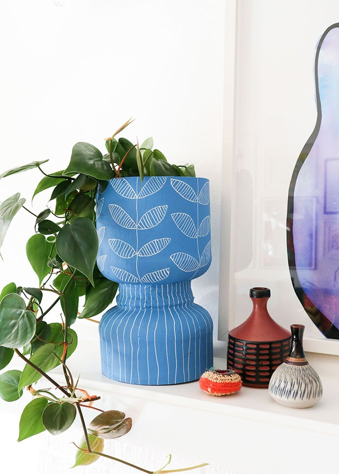 Blue Decorative Planter made from recycled protein powder tub