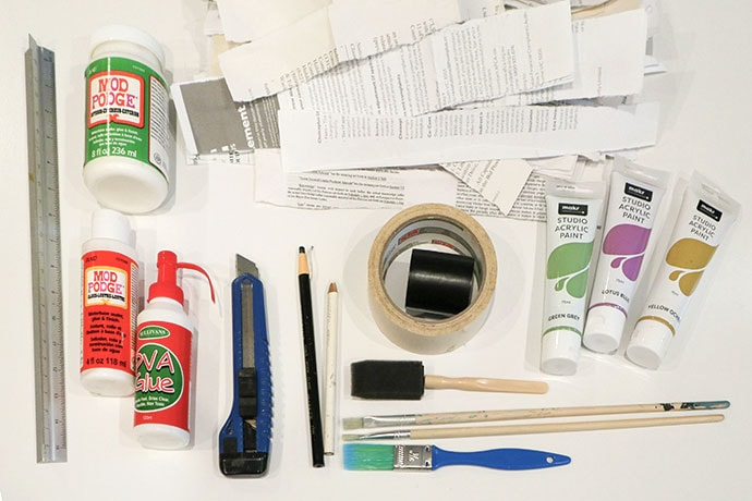 Supplies needed for making an upcycled papier mache planter