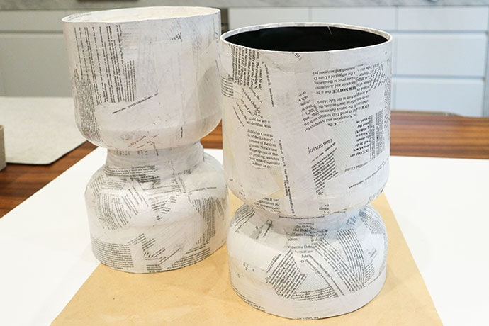 Paper mache upcycled planters