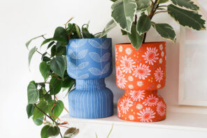 upcycle protein powder contianers turned into plant pots