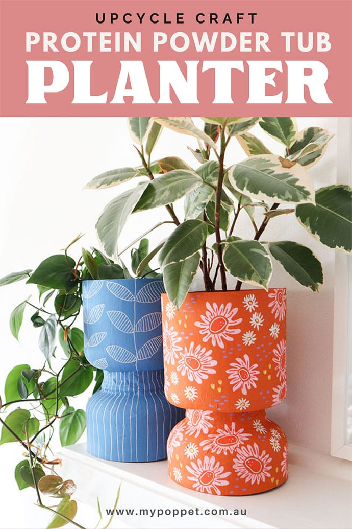 Planter made from recycled protein powder tub
