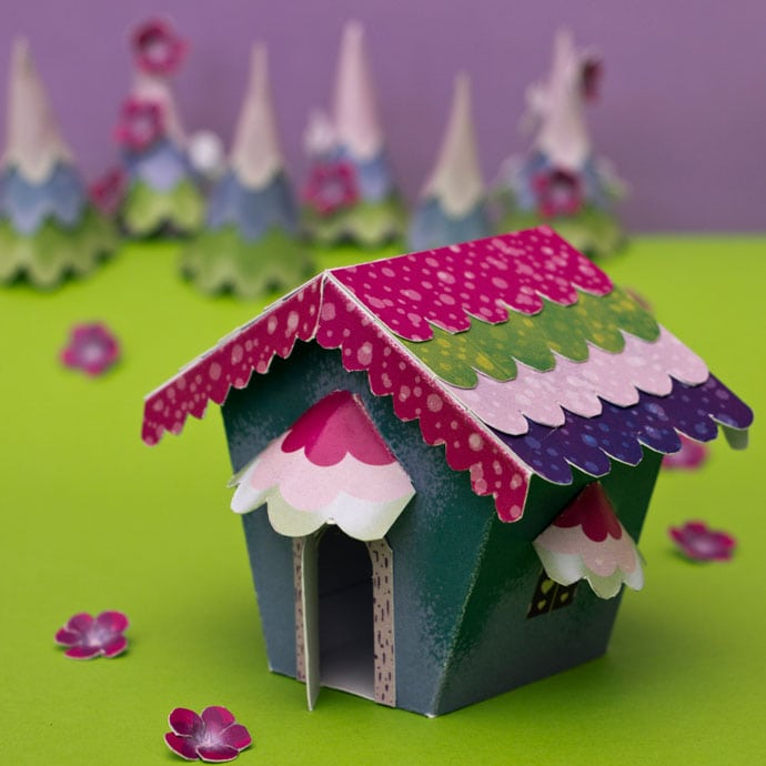 paper house craft project - assembles fairy tale house