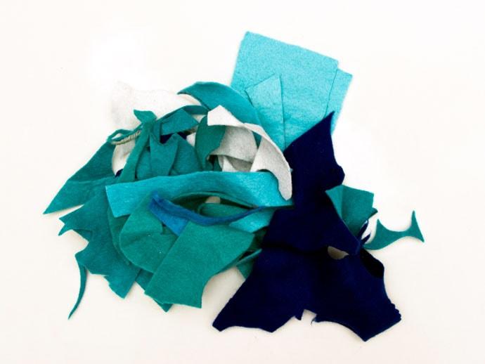 pile of blue scrap felt
