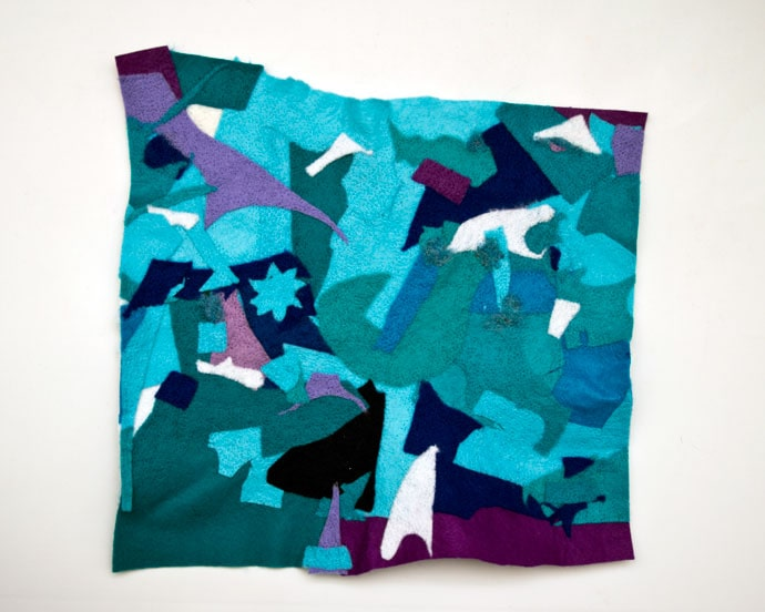 sheet of felt made from patchworked felt scraps