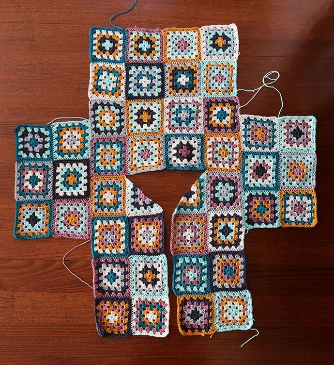 Granny square cardigan assemly layout