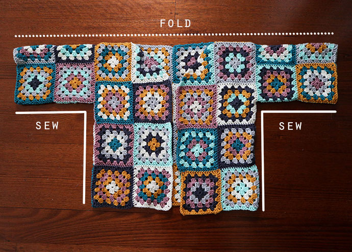 Granny square cardigan assembly layout