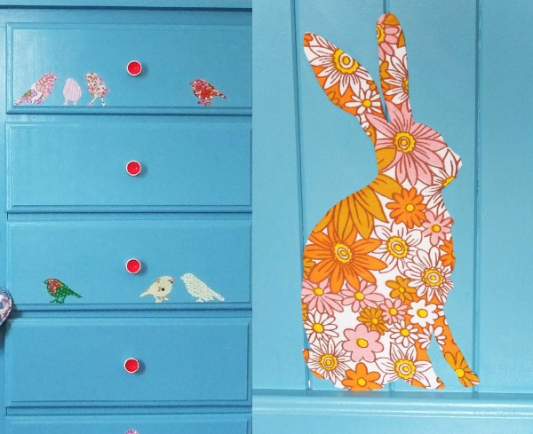 vintage fabric bunny decal