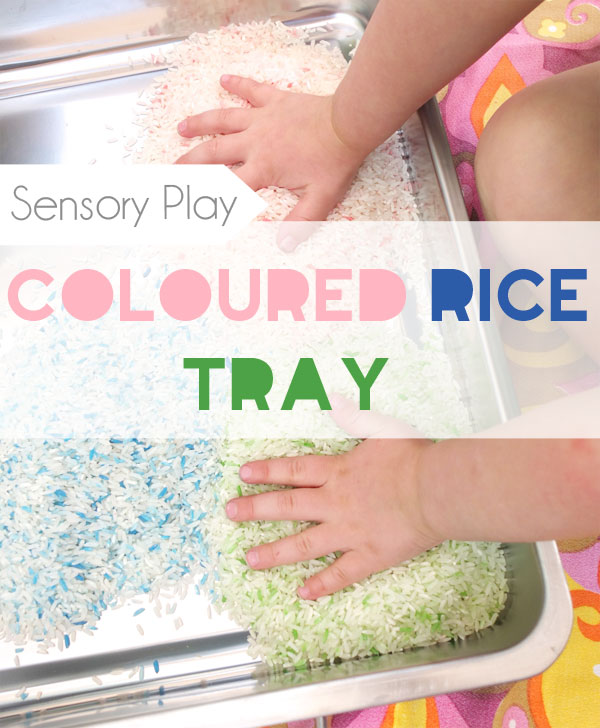 Sensory Play colored rice tray