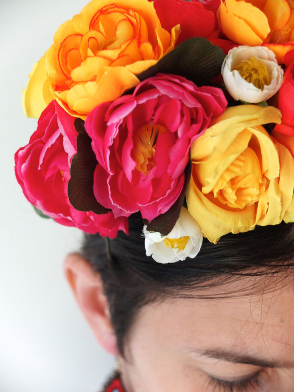 Frida Kahlo floral headband colourful bridal