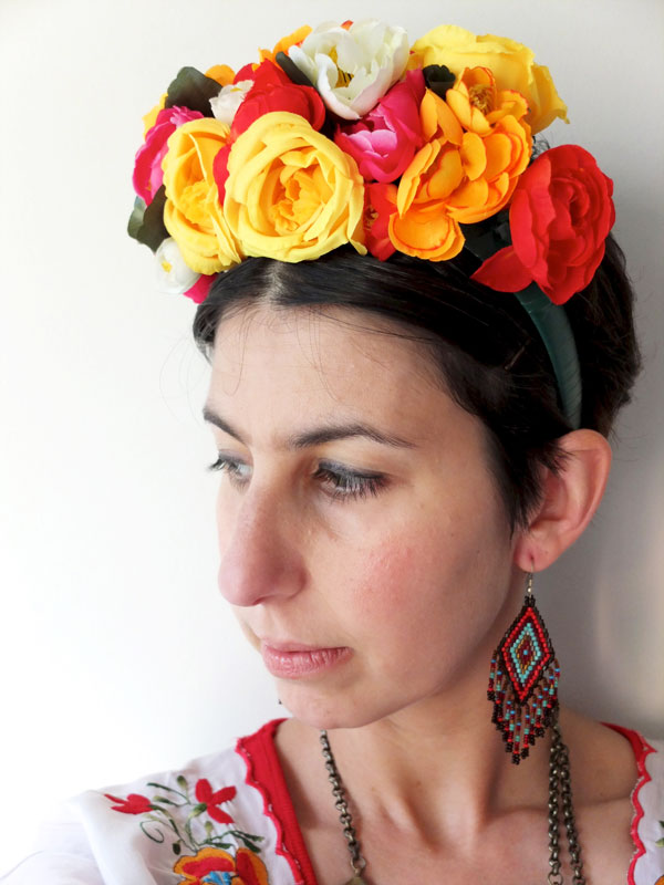 Frida Kahlo floral headband costume