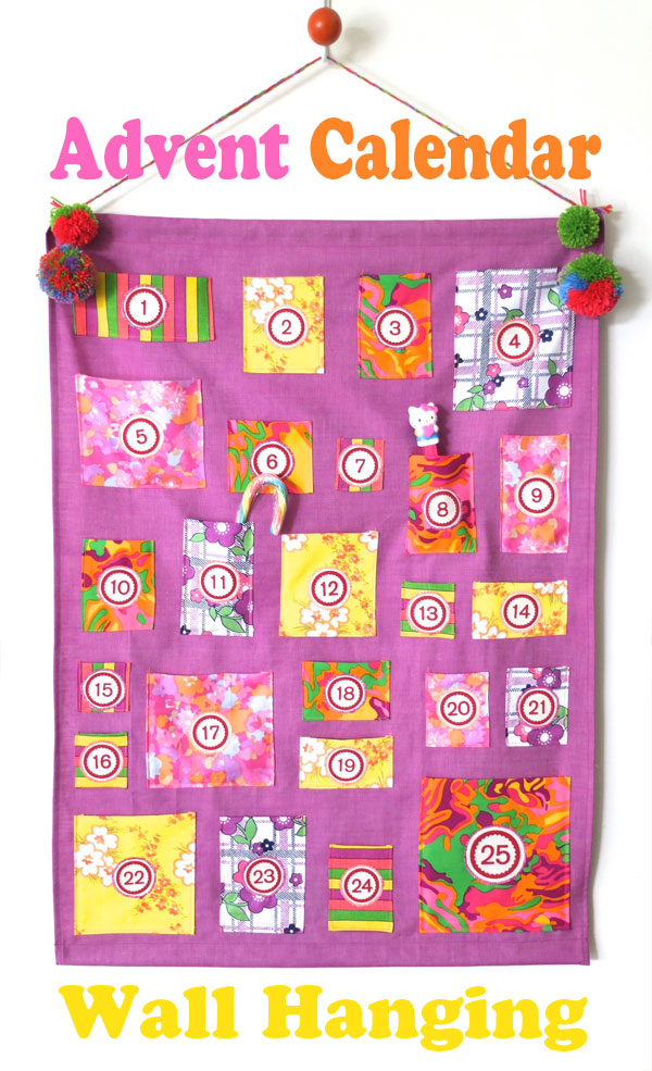 Bright purple retro advent calendar neon Christmas modern