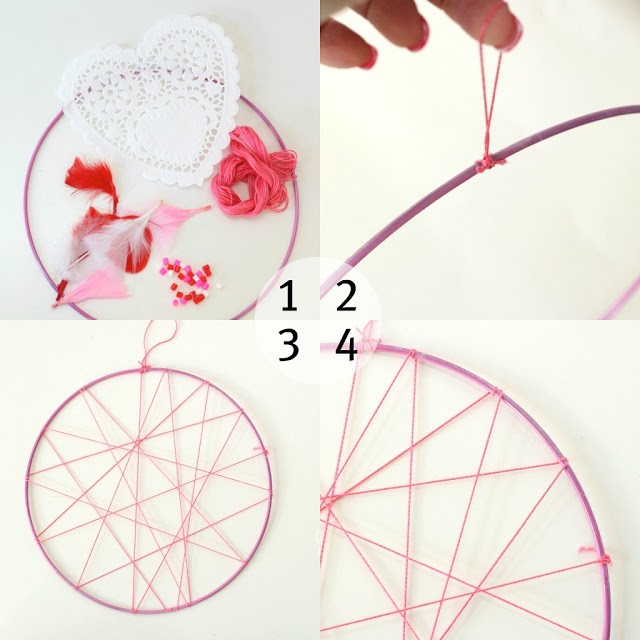 How to make a valentine dream catcher step by step picture collage