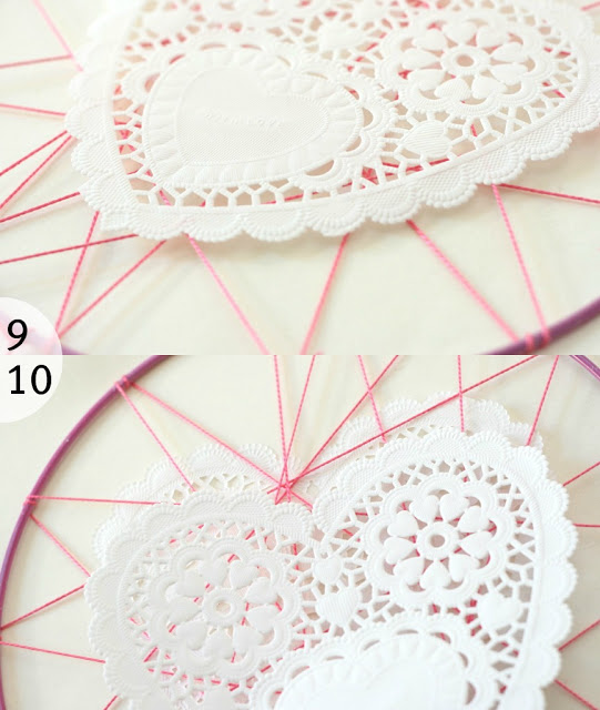 close up of heart shape paper doilies on valentine dreamcatcher