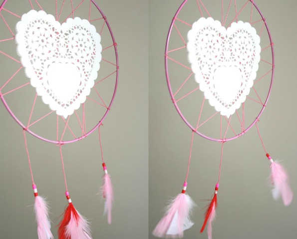 Finished valentine dream catcher with feather tassles