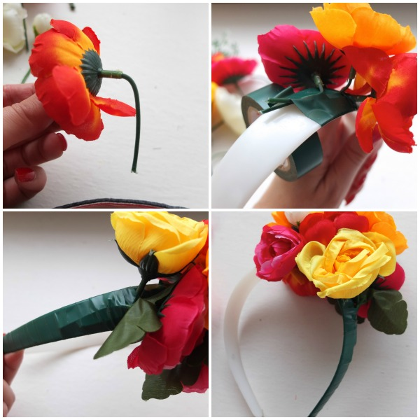Secure the flowers in place with hot glue. Attach colored ribbon to the back of the wire circle by knotting the middle around the wire. Trim the ends to the length of your choice. Place the flower girl hair wreath on her head to see how it looks. You may want to move a few flowers around, add a few or take some out.