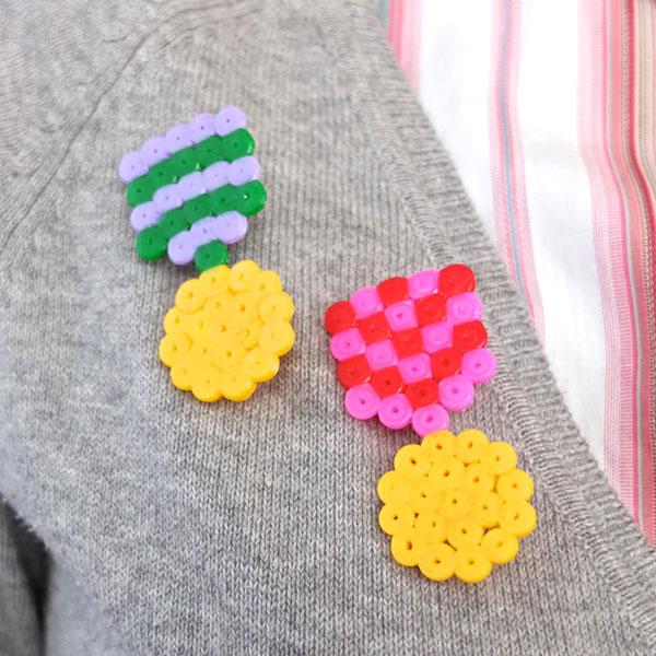 DIY hama bead pearler medal ribbon brooch